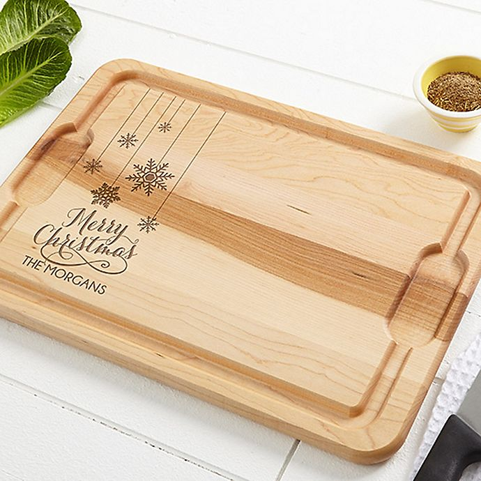 Alternate image 1 for Snowflakes 12-Inch x 17-Inch Maple Cutting Board
