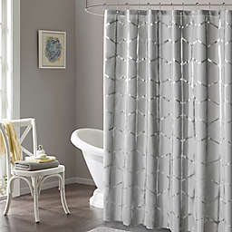 Intelligent Design Raina Metallic Shower Curtain in Grey