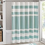 Madison Park 72-Inch x 84-Inch Spa Waffle Shower Curtain in Aqua
