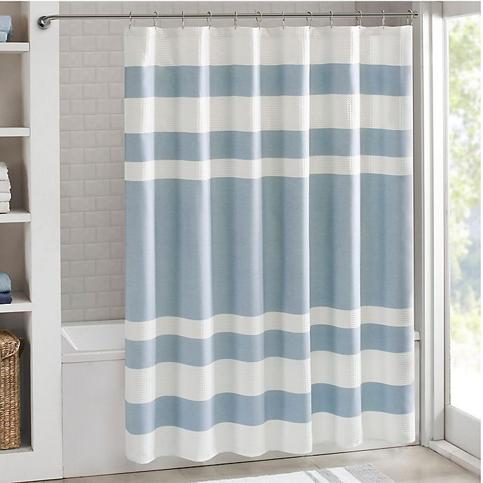 Alternate image 1 for Madison Park 72-Inch x 84-Inch Spa Waffle Shower Curtain in Blue
