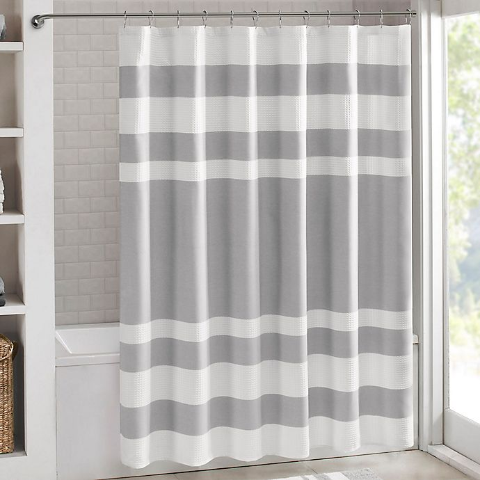 Alternate image 1 for Madison Park 72-Inch x 84-Inch Spa Waffle Shower Curtain in Grey