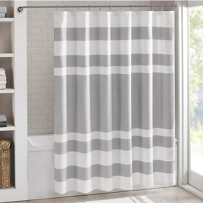 Alternate image 1 for Madison Park 72-Inch x 96-Inch Spa Waffle Shower Curtain in Grey