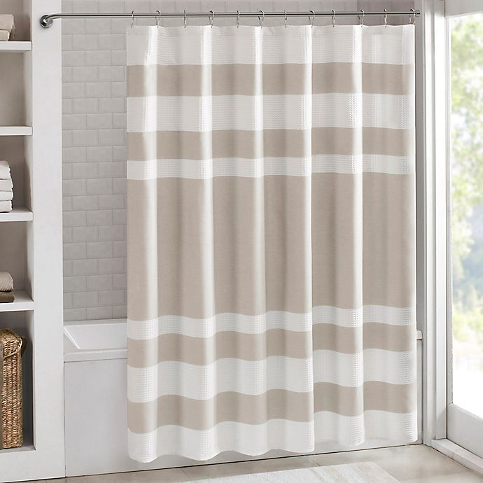 Alternate image 1 for Madison Park 72-Inch x 96-Inch Spa Waffle Shower Curtain in Taupe