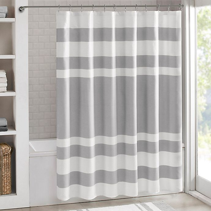 Alternate image 1 for Madison Park 108-Inch x 72-Inch Spa Waffle Shower Curtain in Grey