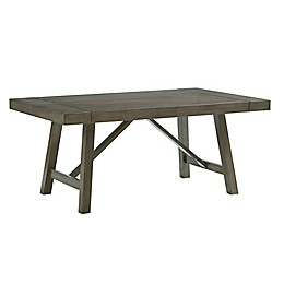 Standard Furniture Omaha Extendable Trestle Dining Table with 2 Leafs in Grey