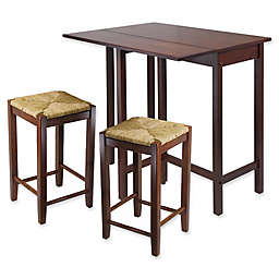 Winsome Lynnwood 3-Piece Dining Set with Drop Leaf and Rush Seat Stools