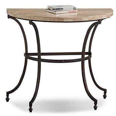 Leick Home Travertine Stone Top Console Table in Beige