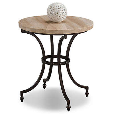 Leick Home Travertine Stone Top Round Side Table in Beige