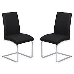 Armen Living Blanca Brushed Steel Dining Chairs (Set of 2)