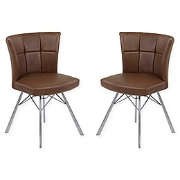 Armen Living Spago Brushed Steel Dining Chairs (Set of 2)