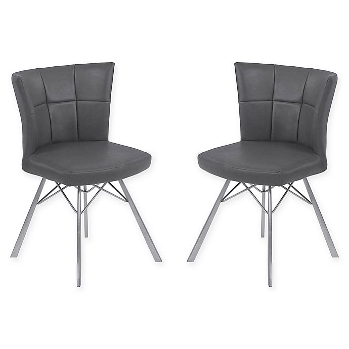 Alternate image 1 for Armen Living Spago Brushed Steel Dining Chairs (Set of 2)