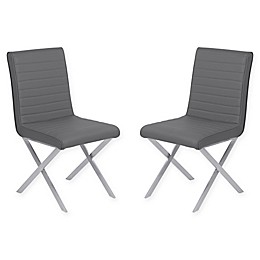 Armen Living Tempe Brushed Steel Dining Chairs (Set of 2)