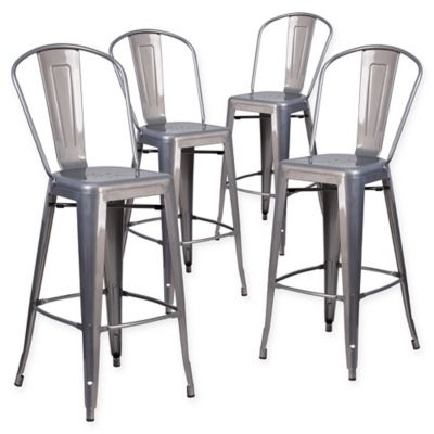 Terrific Flash Furniture Clear Coated Metal Stools With Backs Set Of 4 Ocoug Best Dining Table And Chair Ideas Images Ocougorg