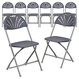 Flash Furniture Fan Back Plastic Folding Chairs in Charcoal (Set of 8)
