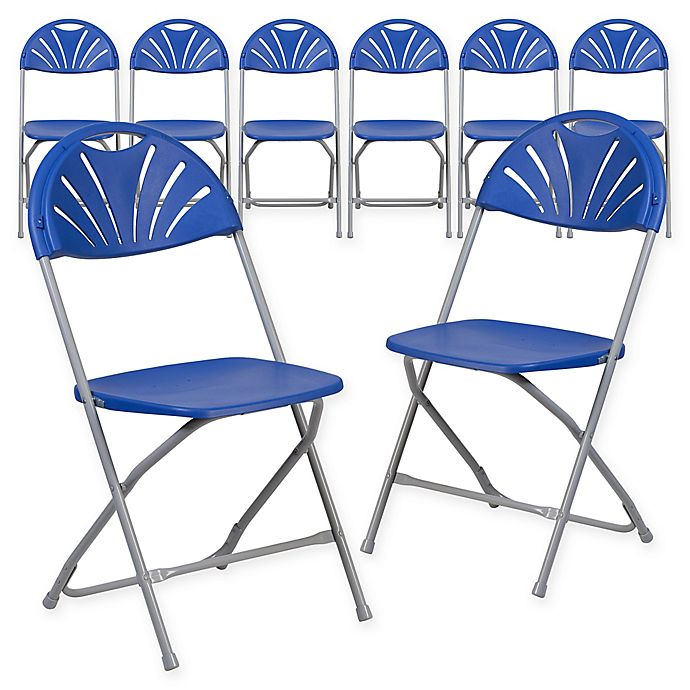 Alternate image 1 for Flash Furniture Fan Back Plastic Folding Chairs in Blue (Set of 8)