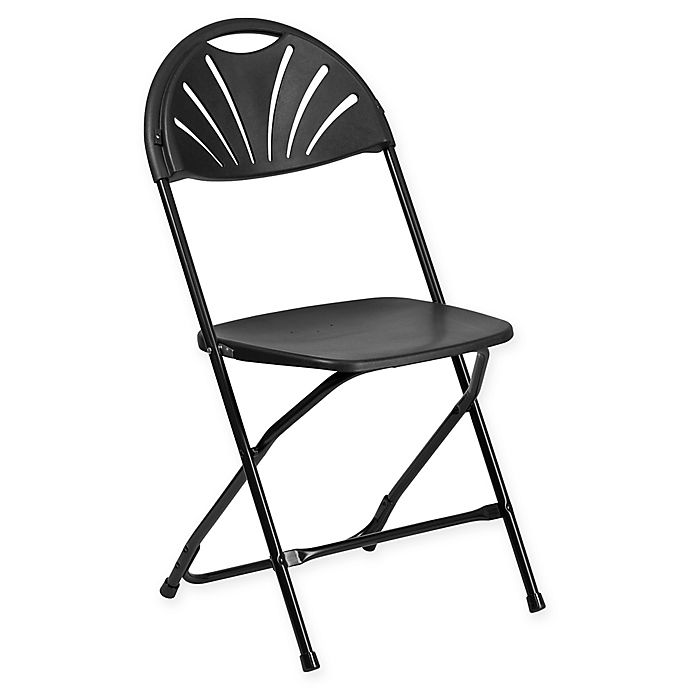 Alternate image 1 for Flash Furniture Fan Back Plastic Folding Chair in Black