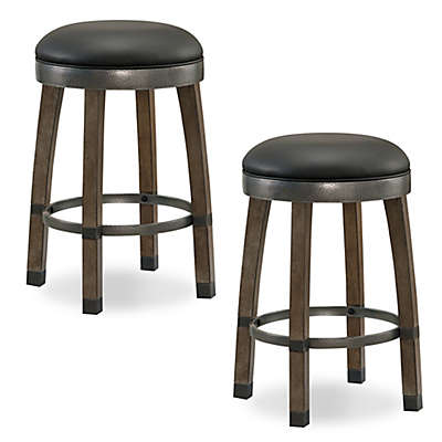 Leick Home Cask Stave Bar Stools in Black (Set of 2)