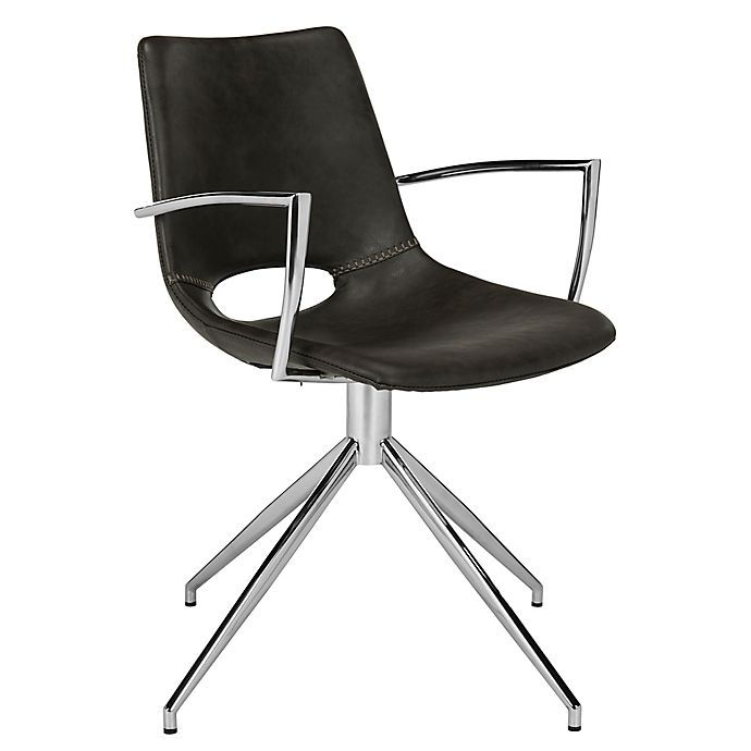 Safavieh Dawn Faux Leather Swivel Dining Chair In Grey