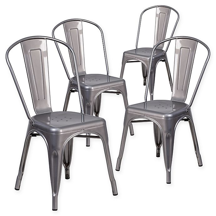 Alternate image 1 for Flash Furniture Clear Coated Stackable Metal Chairs (Set of 4)