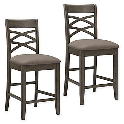 Leick Home Double Crossback Counter Stools in Grey (Set of 2)