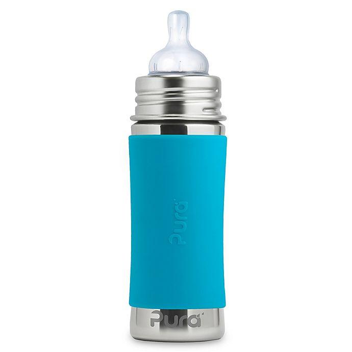 Alternate image 1 for Pura Kiki® 11 oz. Stainless Steel Infant Bottle with Medium-Flow Nipple & Sleeve