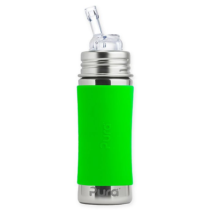 spill proof 8oz with Silicone Lid and Grip Sleeve Stainless Steel Sippy Cup Green