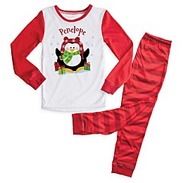 Christmas Penguin 2-Piece Pajama Set in Red