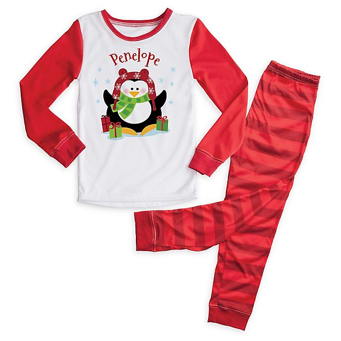 Alternate image 1 for Christmas Penguin 2-Piece Pajama Set in Red