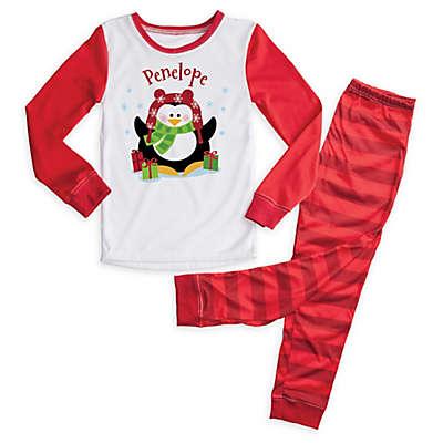 Christmas Penguin 2-Piece Pajama Set in Red