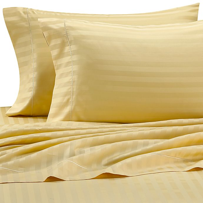 Wamsutta® 500 Damask Stripe Queen Sheet Set in Maize | Bed Bath