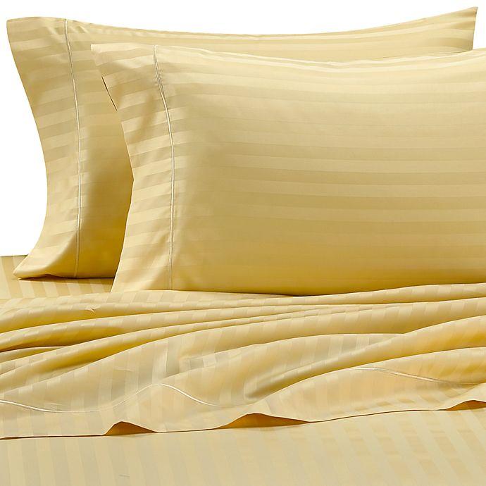 Wamsutta® 500 Damask Stripe Twin Sheet Set in Maize | Bed Bath