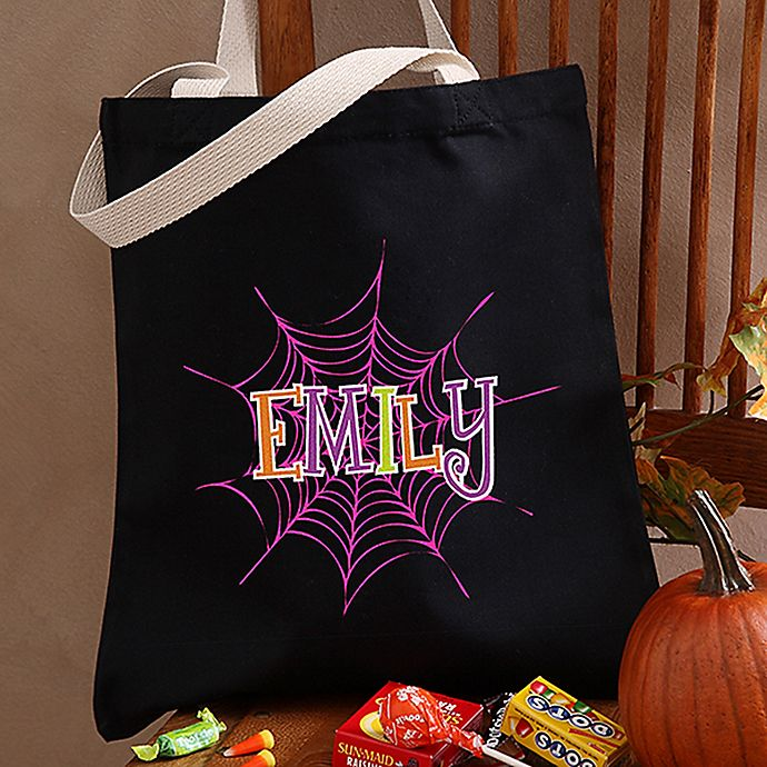 Alternate image 1 for Spider Webs Halloween Treat Tote Bag