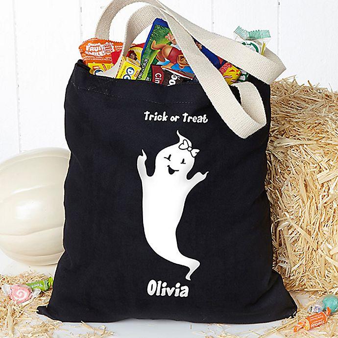 Alternate image 1 for Glow-in-the-Dark Ghost Halloween Treat Tote Bag