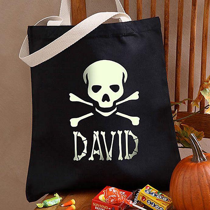 Alternate image 1 for Glow-in-the-Dark Skull Halloween Treat Tote Bag