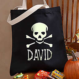 Glow-in-the-Dark Skull Halloween Treat Tote Bag