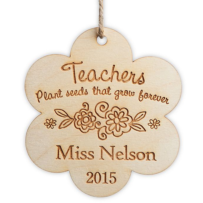 Alternate image 1 for Teachers Plant Seeds Wood Christmas Ornament