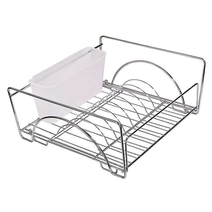 Alternate image 1 for Dazz Expandable Sliding Dish Drainer with Dual Cutlery Cup in Chrome