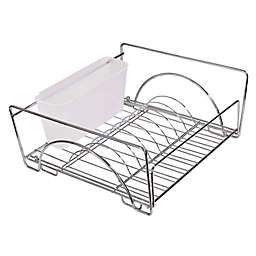 Dazz Expandable Sliding Dish Drainer with Dual Cutlery Cup in Chrome