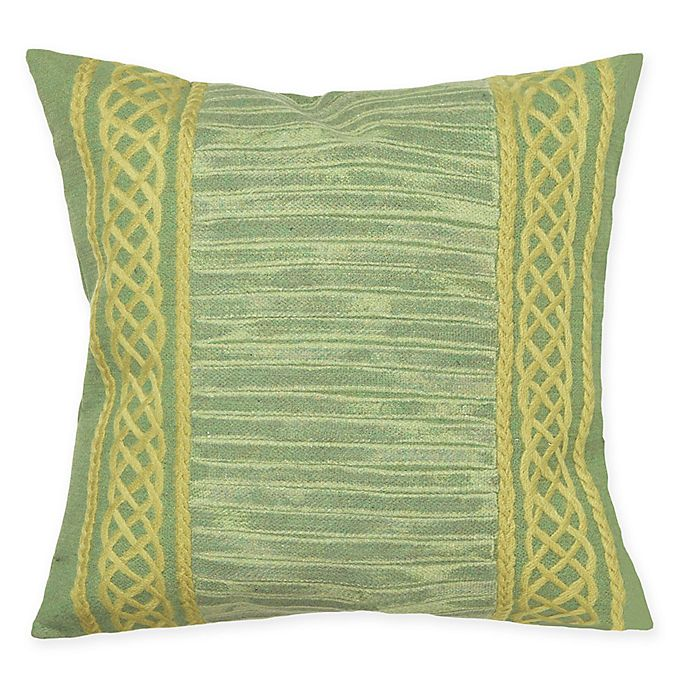 Alternate image 1 for Liora Maine Celtic Stripe Indoor/Outdoor Square Throw Pillow in Sage