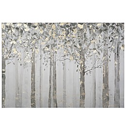 Yosemite Home Décor Grey & Yellow Trees Mixed Media 28-Inch x 40-Inch Canvas Wall Art