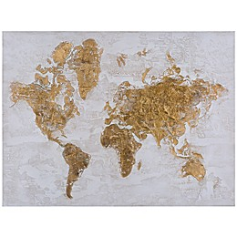 Yosemite Home Decor Map in Gold Mixed Media Canvas Wall Art