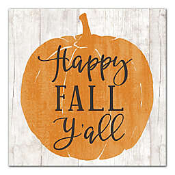 "Designs Direct  ""Happy Fall Y'all"" 12-Inch Square Canvas Wall Art"