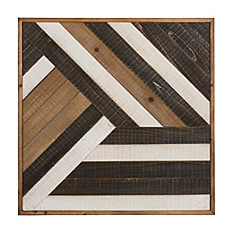 Kate and Laurel Ballez 23.75-Inch Square Shiplap Wood Wall Art