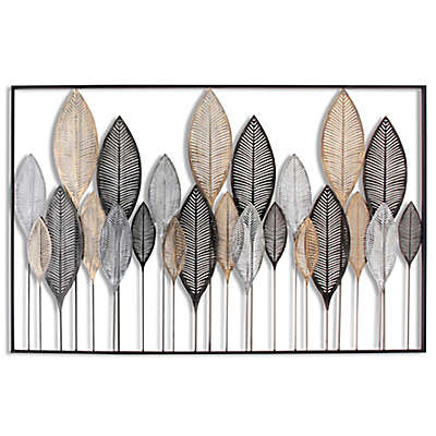 Stylecraft Horizontal Leaves Metal Wall Art