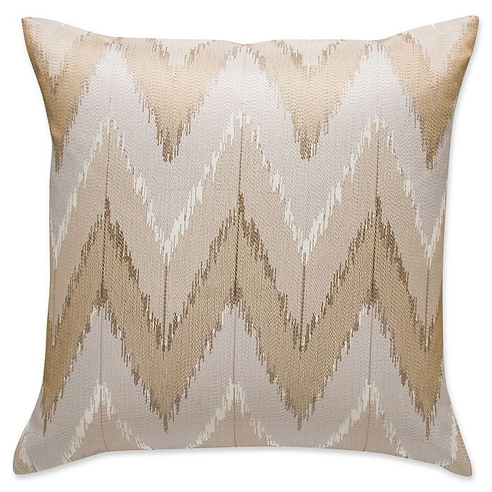 Alternate image 1 for Frette At Home Cervino Embroidered Square Throw Pillow in Stone