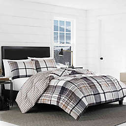 Eddie Bauer® Normandy Plaid Reversible Twin Comforter Set in Black