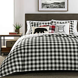 Eddie Bauer® Mountain Plaid Full/Queen Comforter Set in Black