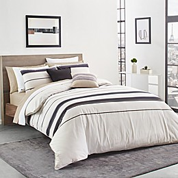 Lacoste® Avoriaz 2-Piece Reversible Nautical Stripe Twin/Twin XL Comforter Set in Taupe
