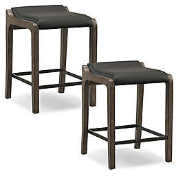 Leick Home Fastback Stools in Grey/Black (Set of 2)