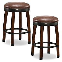 Leick Home Wood Cask Stave Swivel Counter Stools in Brown (Set of 2)